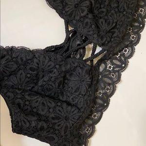 VS black lace bralette.